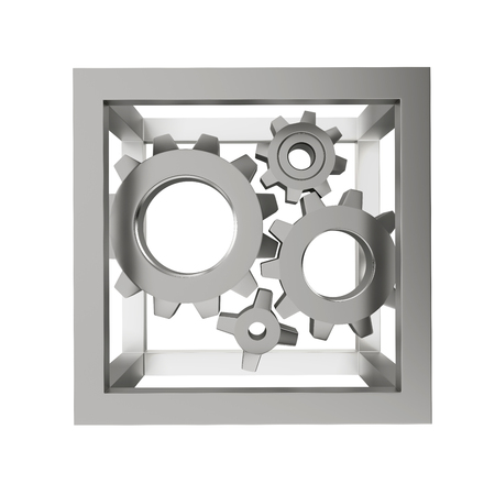 mechanical system with gear wheels in the steel frame, isolated on a white background Stock Photo