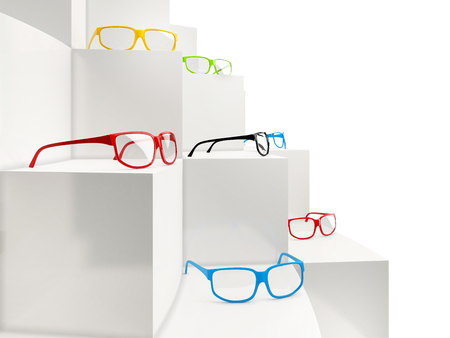eyeglass: collection of eyeglasses on showcase