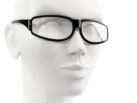 mannequin head: close-up of white mannequin head of a woman wearing glasses