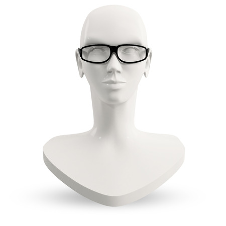 head of a female mannequin in black eyeglasses Stock Photo