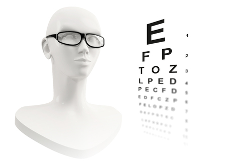 tiny lenses: head of a female mannequin in eyeglasses with eye chart on background