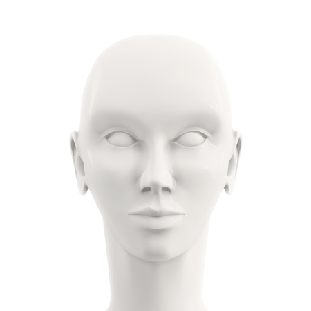 mannequin head: front view of white female mannequin head Stock Photo