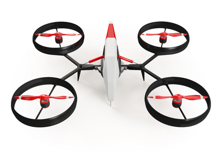 propeller: quadrocopter drone with red propeller on a white background
