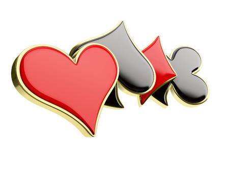 poker kaart symbolen, geïsoleerd op een witte achtergrond Stockfoto