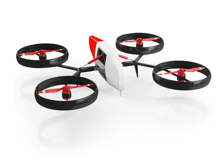 toy plane: quadcopter drone with red propeller on a white background