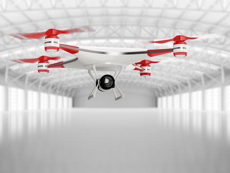 White Quadcopter Drone With HD Camera In Flight In Interior ...