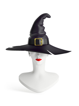 mannequin head: white mannequin head of a young beautiful girl in a witch hat, isolated on white background