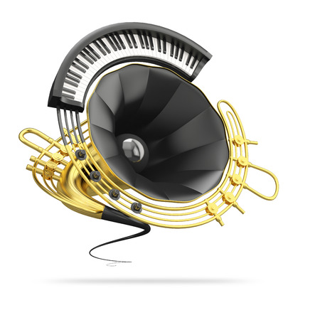 fanciful: Fanciful  image that represent stylized golden gramophone with details piano and saxophone isolated on white background