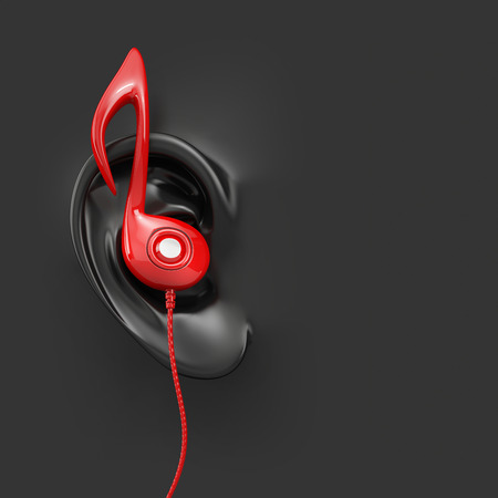red and black: red earbud headphones in black plastic ear