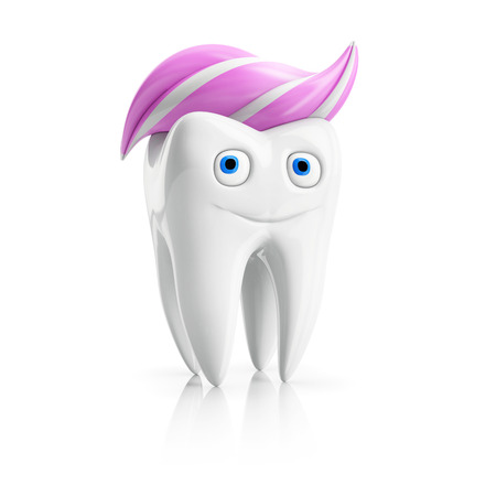 flawless: happy child tooth character with pink toothpaste on white background
