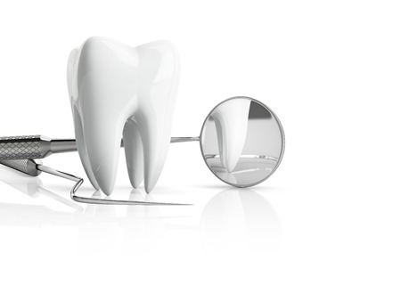 Close-up of tooth with dentist accessories with mirror and plugger, isolated on white bacground