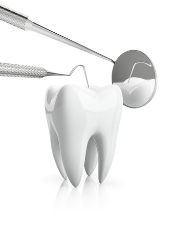 dental clinics: Close-up of overview of dental caries prevention, isolated on white bacground. Check up of tooth with dentist accessories with mirror and plugger
