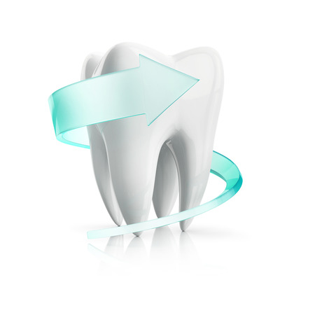 snowwhite: swirl protection around of the tooth, isolated on the white background