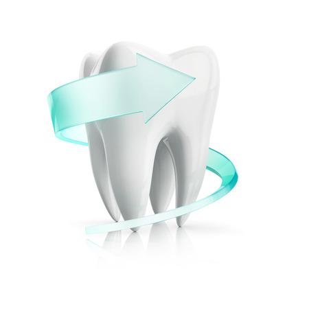 werveling bescherming rond de tand, die op de witte achtergrond Stockfoto
