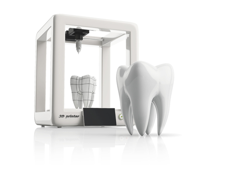 dental laboratory: 3d printer during work on the new tooth