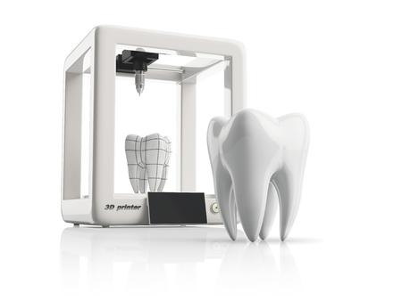 3D-printer tijdens het werk aan de nieuwe tand