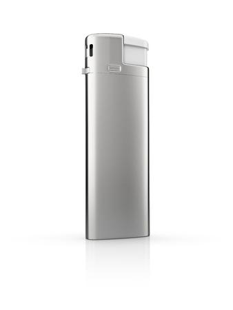 encendedores: en blanco plantilla de encendedores de cigarrillos de acero, aislado en fondo blanco
