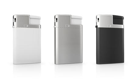 encendedores: blanco, acero y negro en blanco plantilla de encendedores de cigarrillos, aislados en fondo blanco