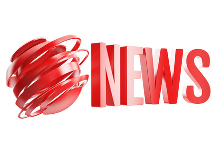 news flash: red news logo with abstract globe isolated on white background Stock Photo