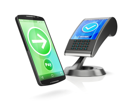 programm: concept of paying with NFC technology on smartphone, 3d rendering isolated on white background