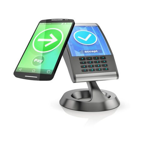 nfc: concept of paying with NFC technology on smartphone, 3d rendering isolated on white background