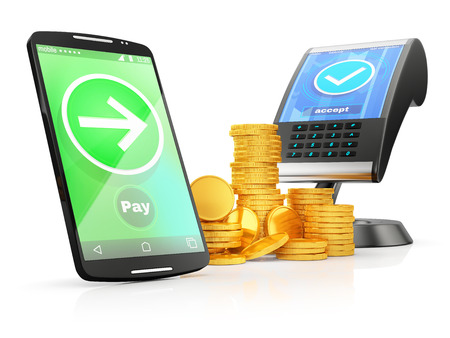 activation: concept of paying with NFC technology on smartphone, with stacks of gold coins, on white background Stock Photo