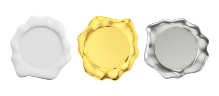 blanc, or et cachet de cire d'argent, vue de face isolé sur un fond blanc