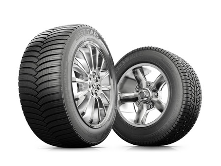 tire: two wheels with new tires isolated on a white background
