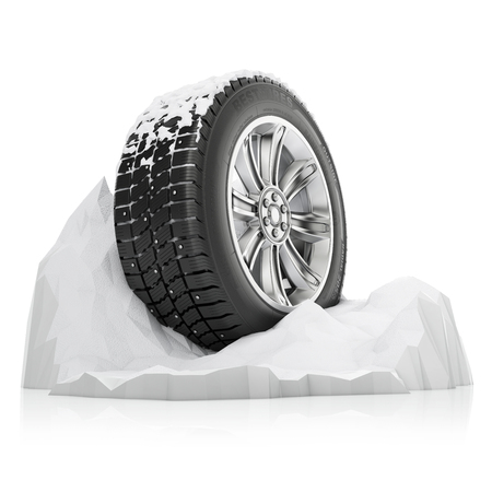 a studded winter tire in a snow on a white background