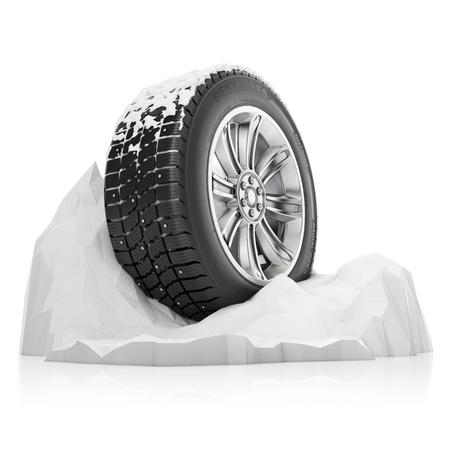 sapin neige: un pneu d'hiver cloutés dans une neige sur un fond blanc