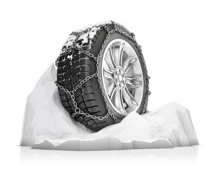 twain: winter tire chains on the snow, anti-skid elements for winter driving, isolated on white background