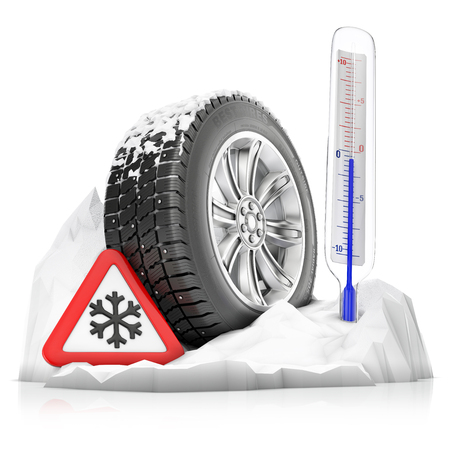 a snowbound studded winter tire with warning sign and thermometer, concept isolated on a white background Stockfoto