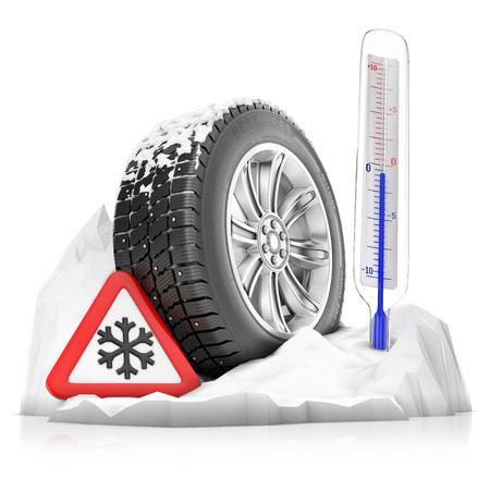 termómetro: un neumático de invierno por la nieve tachonada con señal de advertencia y un termómetro, un concepto aislado en un fondo blanco