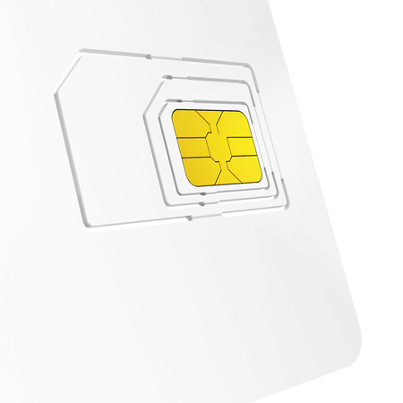 format: close-up of sim card starter kit on white background Stock Photo