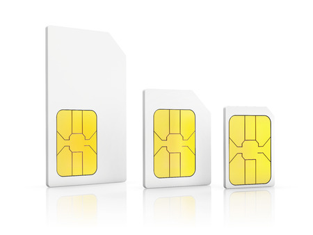sim card: three standard size SIM cards, Mini-SIM, Micro-SIM, Nano-SIM, isolated on white background