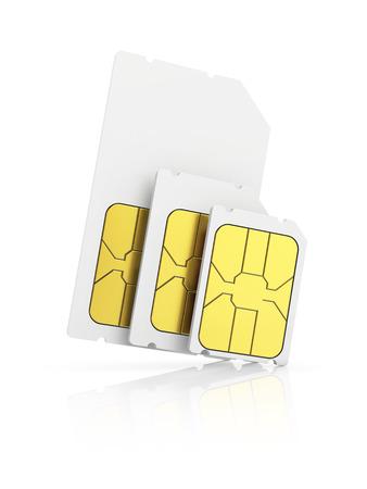 standard size: three standard size SIM cards, Mini-SIM, Micro-SIM, Nano-SIM, isolated on white background