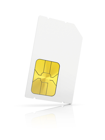 image size: blank Mini-SIM card isolated on white background Stock Photo