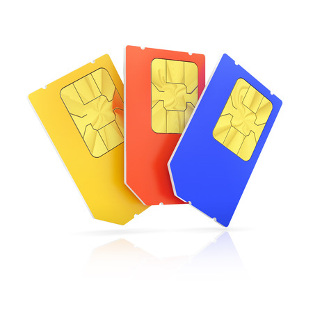sim card: Set of color Mini SIM cards, isolated on white background