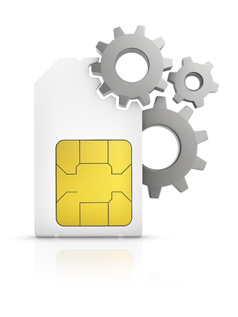 sim card: sim card setting icon, Mini-SIM card with gear isolated on white background Stock Photo