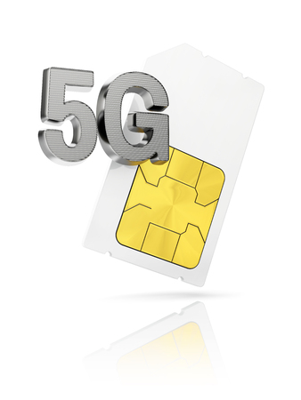 gsm phone: 5G icon with mini Sim card isolated on white background