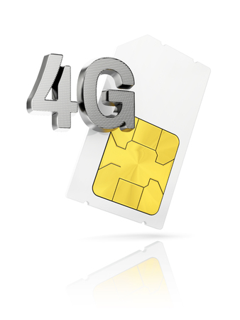 gsm phone: 4G icon with mini Sim card isolated on white background Stock Photo