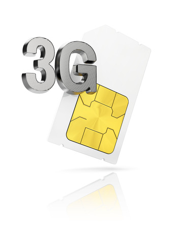 3g: 3G icon with mini Sim card isolated on white background