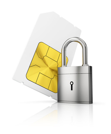 simcard: Protection of personal information concept. Sim-card with closed padlock Stock Photo