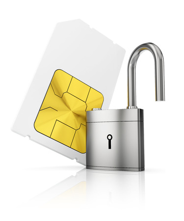 simcard: Protection of personal information concept. Sim-card with open padlock Stock Photo