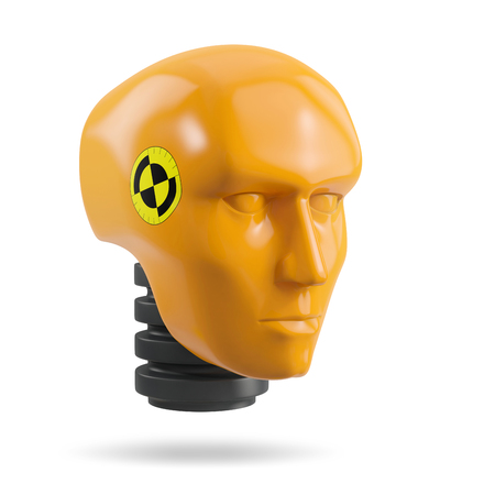 head of a crash test dummy, isolated on white background