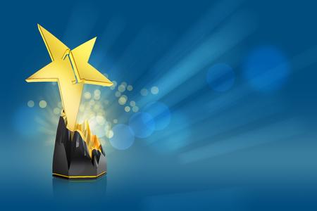 青の背景にゴールド スター賞 写真素材