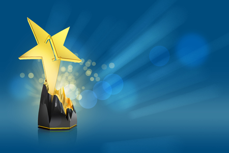 gold star award on blue background