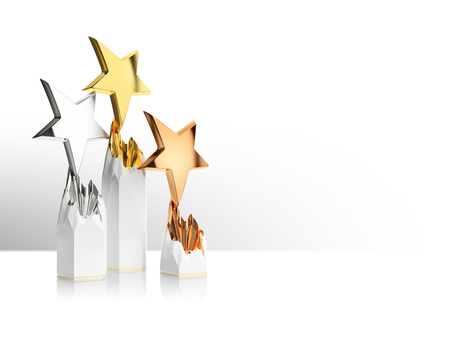 internals: gold, silver and bronze star award  on a light background with space for text Stock Photo