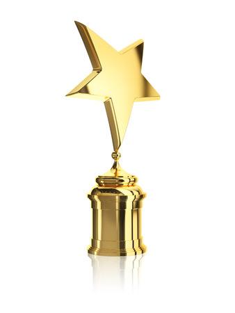 estrella: concesión de la estrella de oro en el soporte aislado en un fondo blanco Foto de archivo