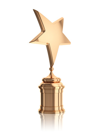 internals: bronze star award on stand isolated on a white background